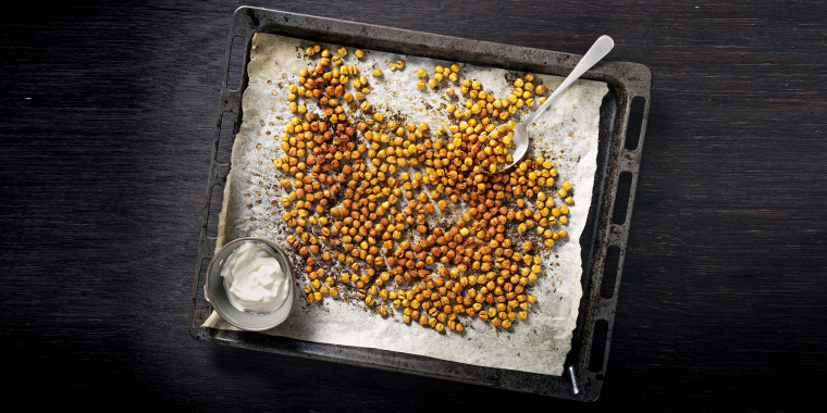 Just like popcorn, you can enjoy these crunchy roasted chickpeas in a variety of delicious ways.