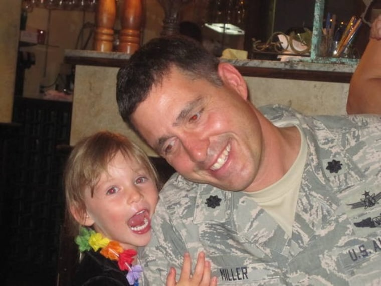 Annelise Miller was 3 1/2 years old in this photo with her father, Air Force Lt. Col. Todd Miller. Miller died in December 2016.