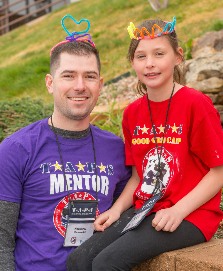 U.S. Air Force Capt. Nathaniel Lee became a mentor to Annelise Miller at a TAPS Good Grief Camp in 2017, shortly after Annelise lost her dad in death.