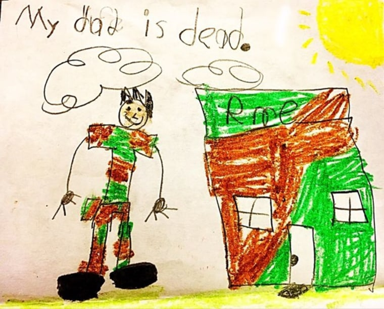 The sun is out, the house is camouflage, and even though he's gone, the dad is smiling. This is an example of the kinds of drawings that emerge from TAPS' Good Grief Camps for children who have lost military parents in death.