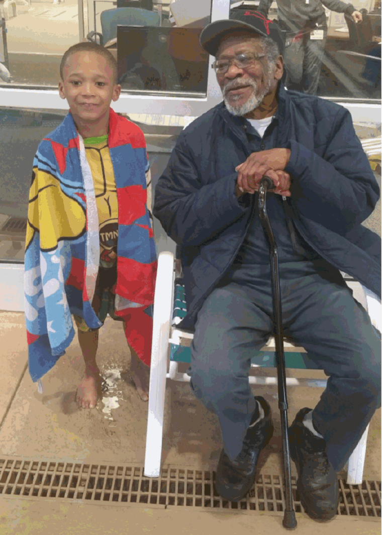 Chris Frison beams in this photo with his beloved great-grandfather, Joseph Fields. Fields died from COVID-19 on April 17, 2020.