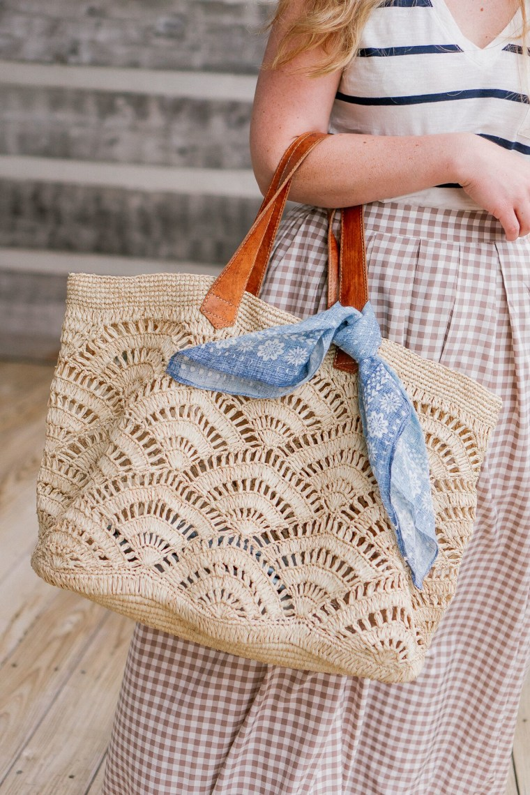 Bandana around handbag straps
