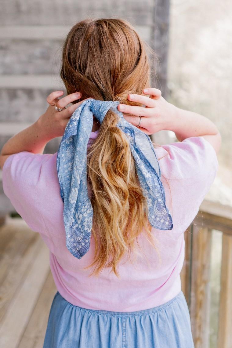 Bandana around ponytail