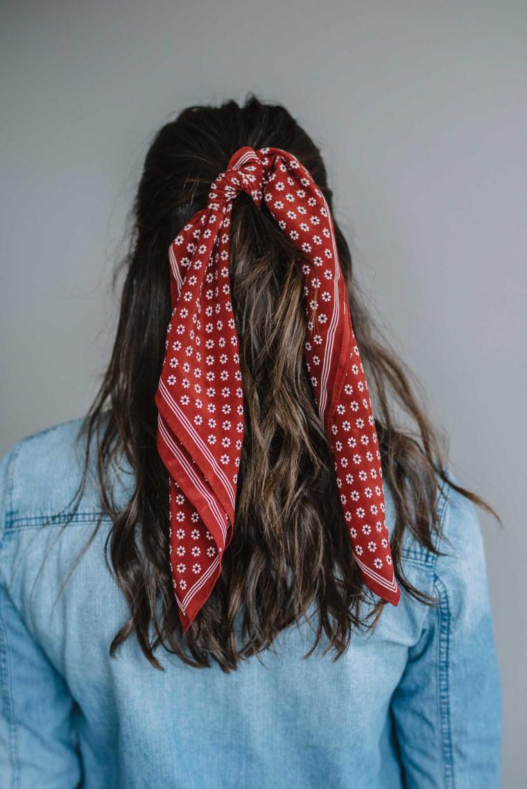 Bandana around half ponytail