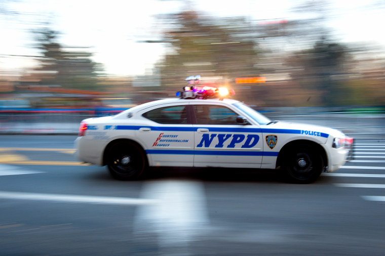 NYPD's units patrol 59th Street before the Macy's Thanksgiving Day Parade on Nov. 26, 2015, in New York.