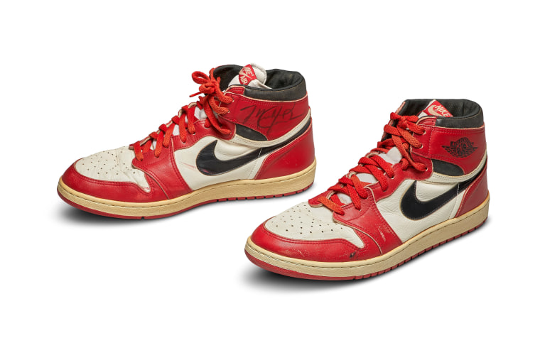 Image: A pair of 1985 Nike Air Jordan 1s, made for and worn by U.S. basketball player Michael Jordan