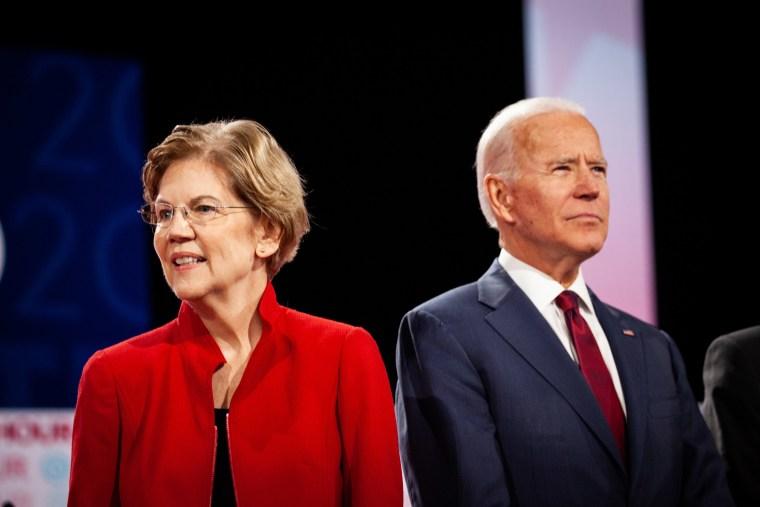 Image: Senator Elizabeth Warren and former U.S. Vice President Joe Biden, arrive on stage ahead of the Democratic presidential debate in Los Angeles
