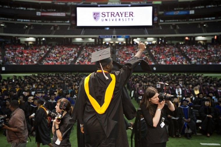 Image: A commencement ceremony for Strayer University, a for-profit educational institution, in 2011.