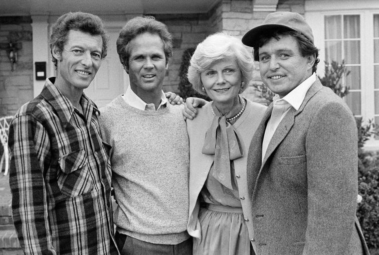 "Members of the original cast of the ""Leave It To Beaver"" — Ken Osmond, left, Tony Dow, Barbara Billingsley and Jerry Mathers — during filming of the TV special ""Still The Beaver"" in Los Angeles in December 1982."