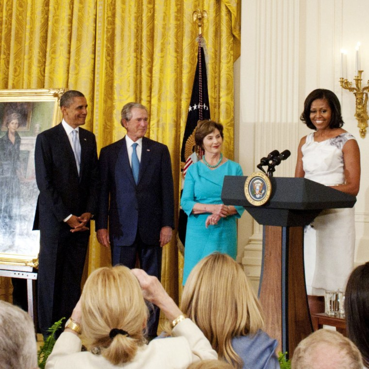 George W. Bush And Laura Bush White House Portrait Unveiling