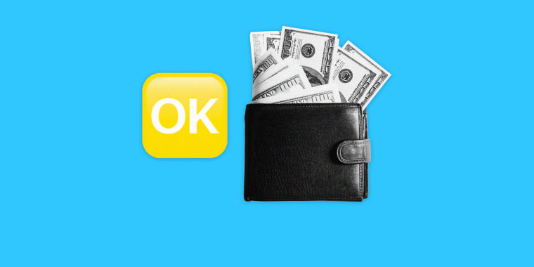 "Image: \""OK\"" Emoji and a wallet with hundred dollar bills"