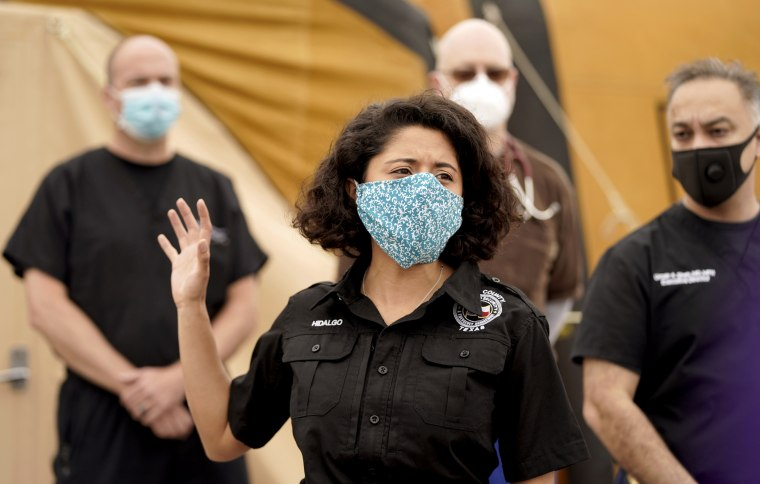 Image: Harris County Judge Lina Hidalgo speaks after a tour of medical shelter in Houston, Texas, on April 11, 2020.