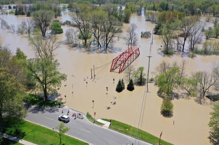 Image: *** BESTPIX *** Two Dams Burst Flooding Town Of Midland, Michigan