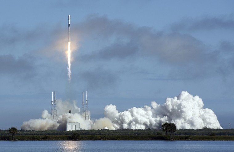 A SpaceX Falcon 9 rocket launches from Cape Canaveral Air Force Station in Florida on Feb. 17, 2020.