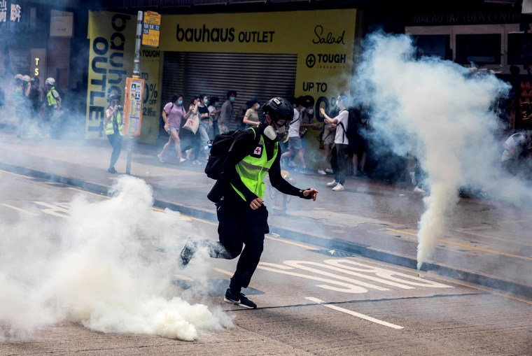 Image: Police fire tear gas on protesters demonstrating against new security legislation in Hong Kong on May 24, 2020.
