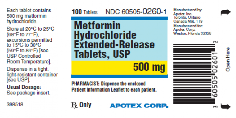 A label for the diabetes drug metformin.