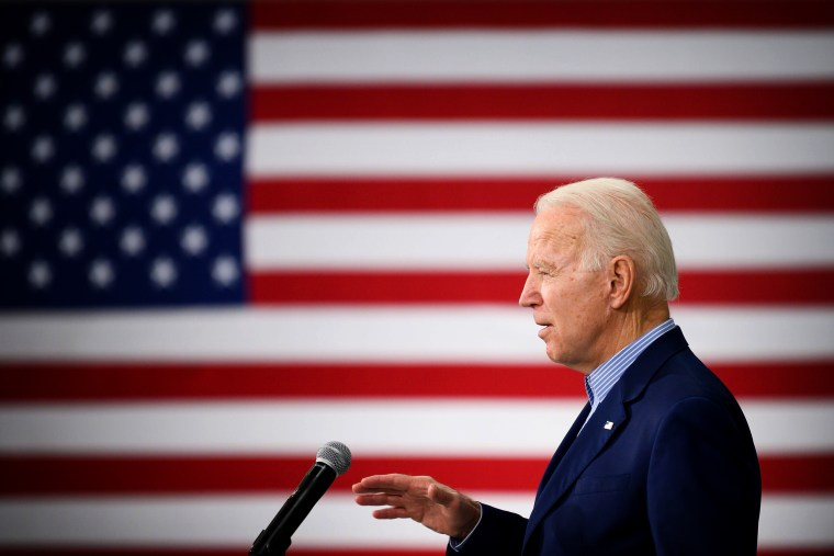 Image: Joe Biden speaks at a town hall in Sumter, S.C., on Feb. 28, 2020.