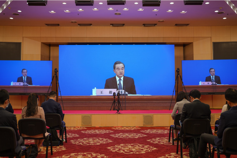 Image: Chinese Foreign Minister Wang Yi Holds Video News Conference