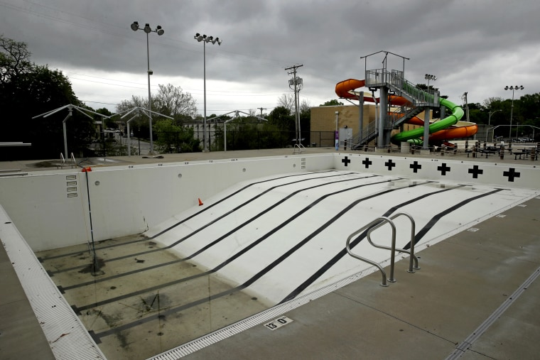 Image: A closed public pool in Mission, Kan., on May 15, 2020.