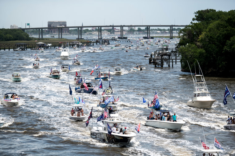 "Image: Boaters participate in a ""Make America Great Again"" parade in Charleston, S.C., on May 24."