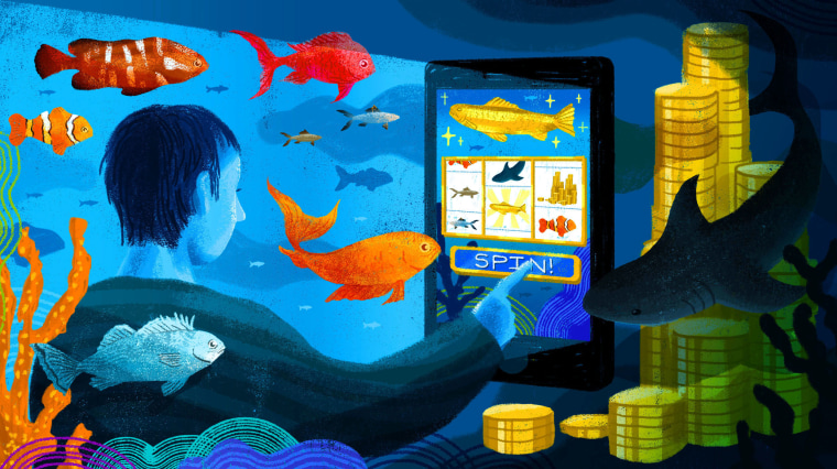 Image: A person, surrounded by fish underwater, plays a slot machine game on a large phone.