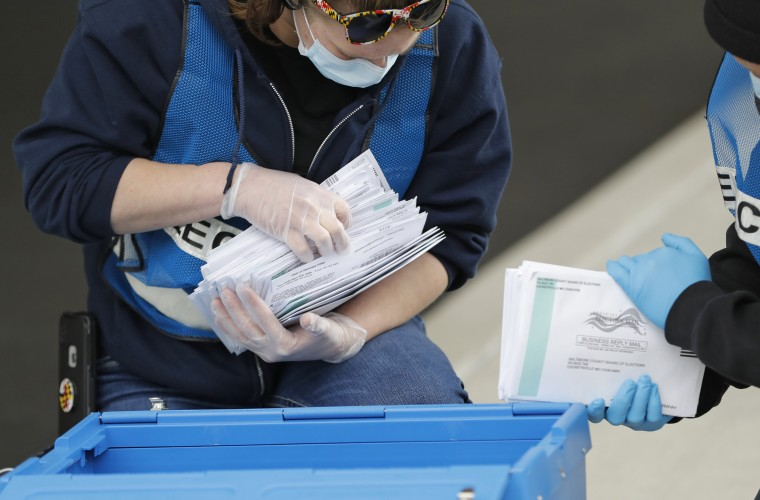 Election workers count ballots while collecting them from a drop box outside a voting center on April 28, 2020, in Windsor Mill, Md.
