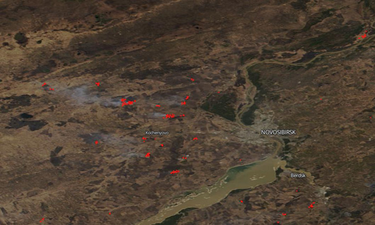Image: A satellite image showing wildfires in the Novosibirsk Region, south Siberia on April 27, 2020