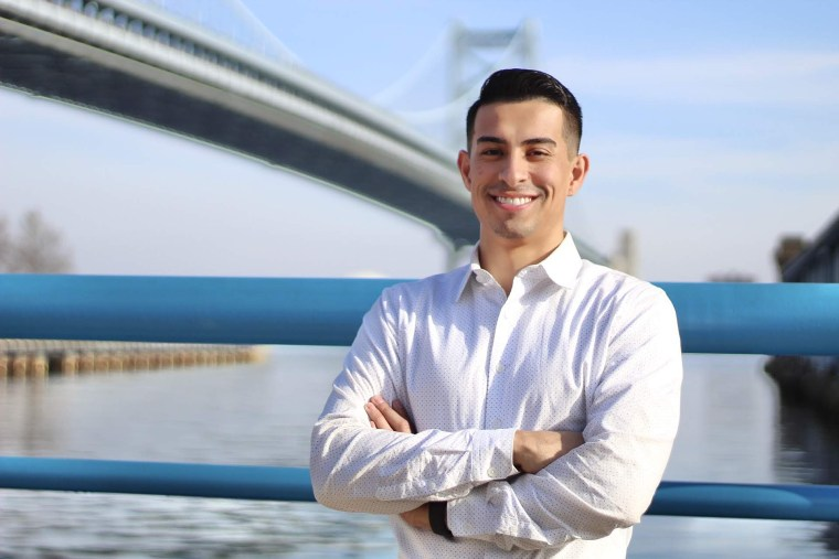 Andre Del Valle, 27, is a candidate for the Pennsylvania state House in Tuesday's Democratic primary.