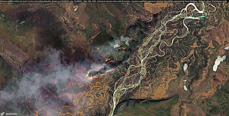 Image: Satellite imagery of a wildfire in Siberia, Russia above the arctic circle on May 19, 2020