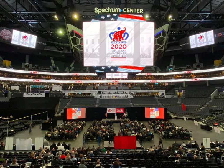 Image: The Republican National Committee holds a media walkthrough for the 2020 Republican National Convention that will be held from Aug. 24-27, 2020