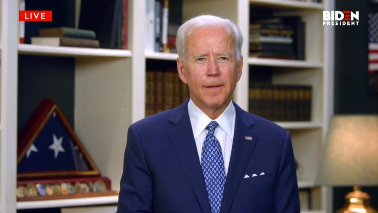 Joe Biden delivers virtual remarks in response to the unrest in Minnesota on May 29, 2020 from his home.
