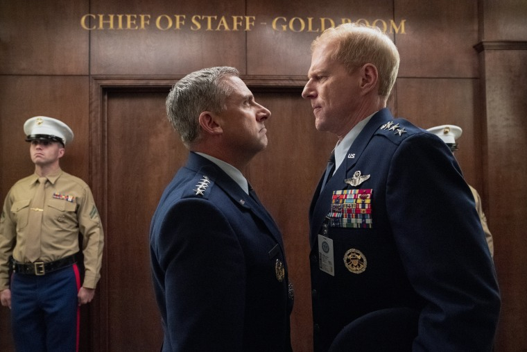 """Steve Carell as General Mark R. Naird and Noah Emmerich as Kick Grabaston in episode 103 of """"Space Force"""" on Netflix."""