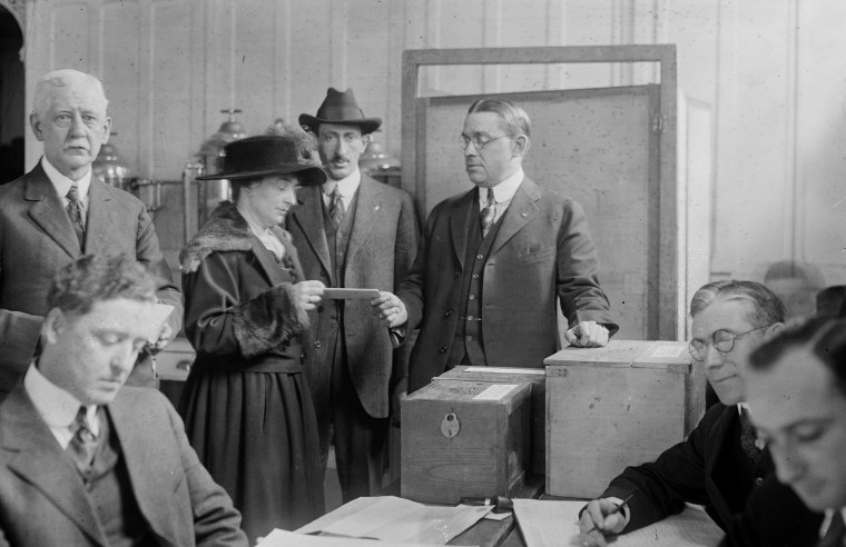 Margaret Lally votes during the first election in New York City where women could vote on March 5, 1918.