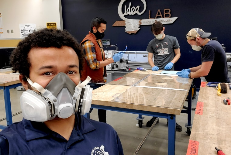 Kentez Craig and his team at Georgia Tech working on designs for an intubation chamber.