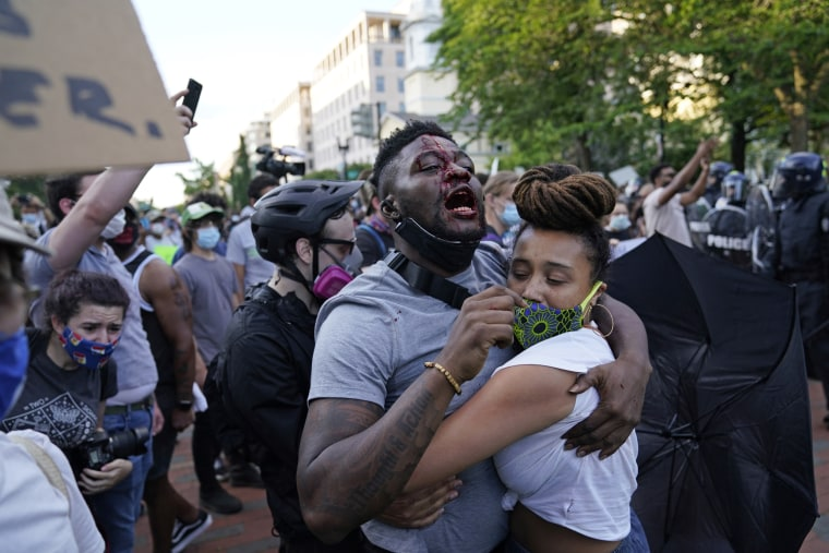 A injured demonstrator as people protest the death of George Floyd on Saturday near the White House.