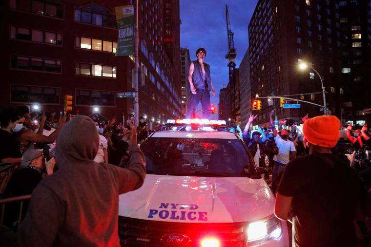 Protesters rally against the death in Minneapolis police custody of George Floyd in Manhattan