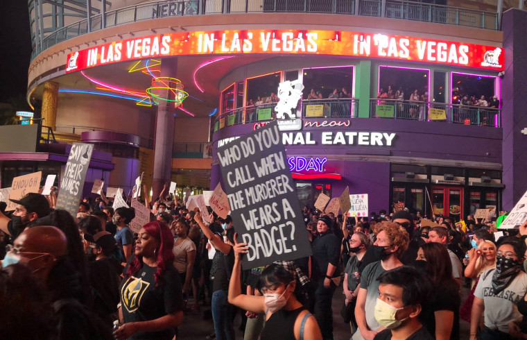 Protesters march in Las Vegas on May 30, 2020.