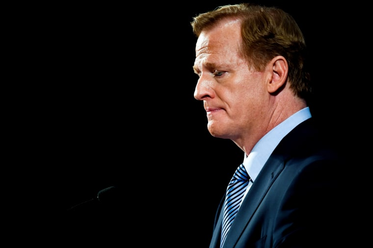 Image: NFL commissioner Roger Goodell at a press conference in New York in 2014.