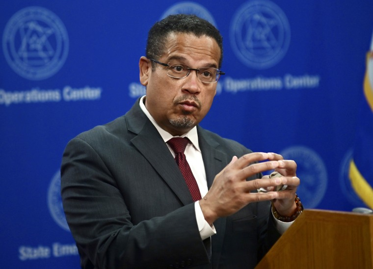 Minnesota Attorney General Keith Ellison answers questions about the investigation into the death of George Floyd, in St. Paul, Minn., on Wednesday, May 27, 2020.
