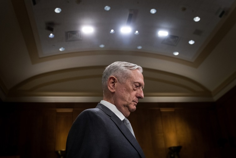 Image: Secretary of Defense James Mattis arrives for a Senate Foreign Relations Committee hearing on Oct. 30, 2017.