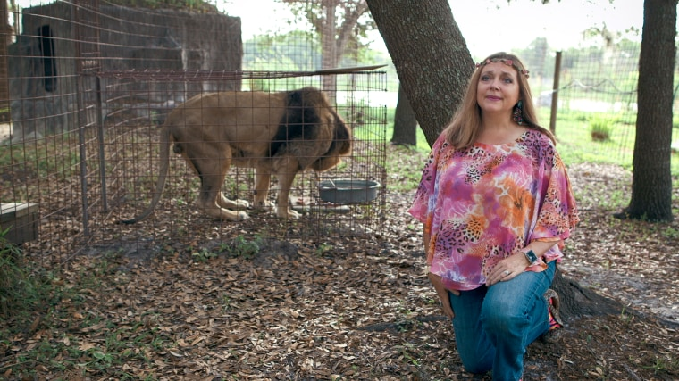 "Carole Baskin in a still from \""Tiger King: Murder, Mayhem and Madness\"" on Netflix."