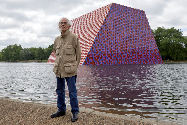 "Image: Christo unveils his work, ""The Mastaba,\"" in London's Hyde Park in 2018."