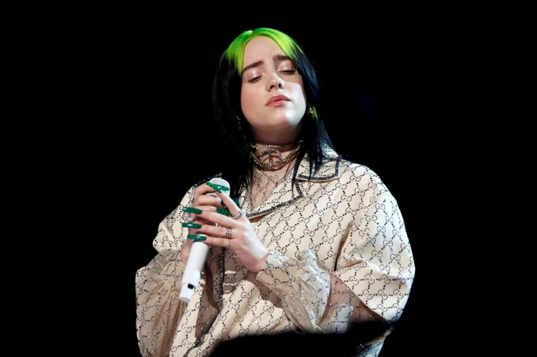 Image: Billie Eilish performs at the Grammy Awards in Los Angeles on Jan. 26, 2020.