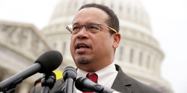 Image; Rep. Keith Ellison, D-Minn., speaks outside of the Capitol on Feb. 1, 2017.