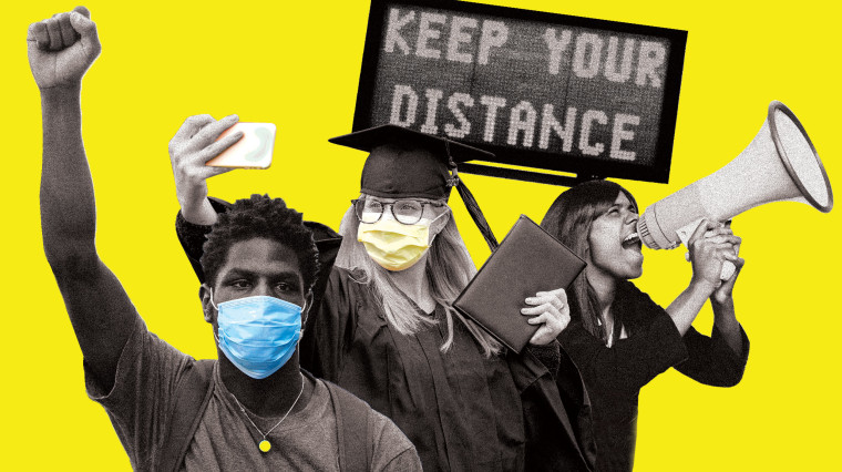 Image: Young people wearing masks raise their fist in protest, another takes a selfie in a graduation cap and gown, and another yells through a bull horn.