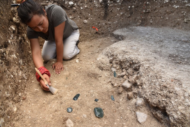 Archaeologists found ritual deposits of jade axes and tools near pyramids and a plaza at the center of the platform.