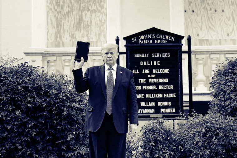 President Donald Trump holds a Bible while visiting St. John's Church across from the White House after the area was cleared of protesters on June 1, 2020.
