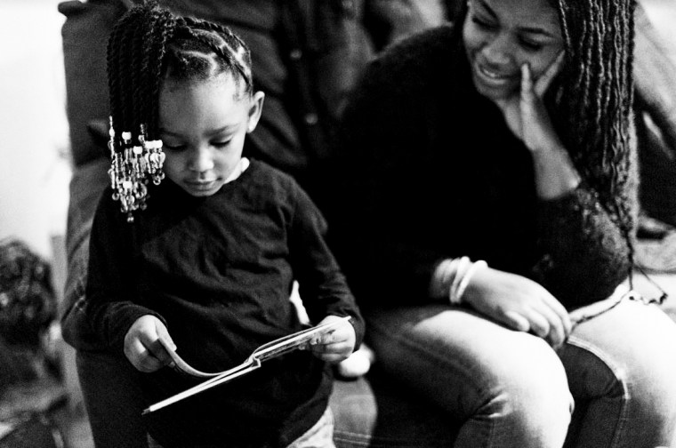 A scholar from Generation Hope, a nonprofit focused on college completion and early childhood success for teen parents in the Washington, D.C., area, with her child.