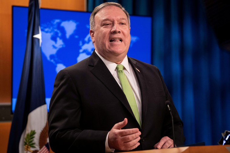 Image: Secretary of State Mike Pompeo speaks to the media at the State Department in Washington