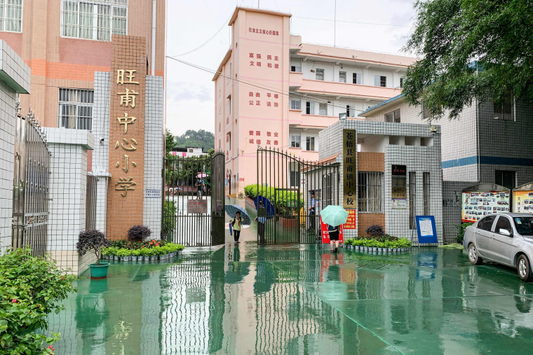 Image: The gate of a primary school where a knife attack happened in Wuzhou in China's southern Guangxi region